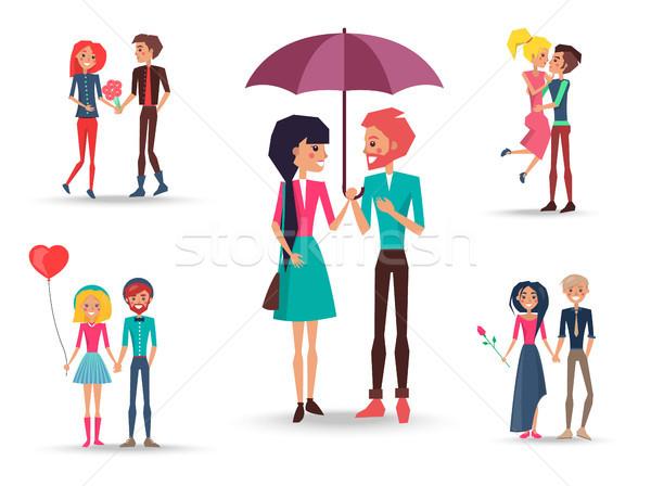 Set cinque coppie amore primo piano Foto d'archivio © robuart