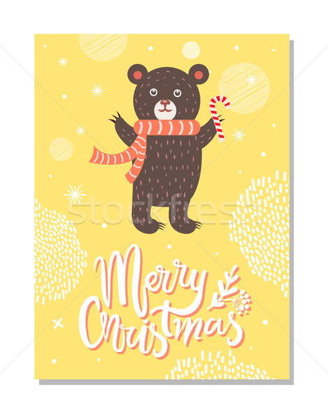 Merry Christmas Greeting Card with Bear Red Scarf Stock photo © robuart