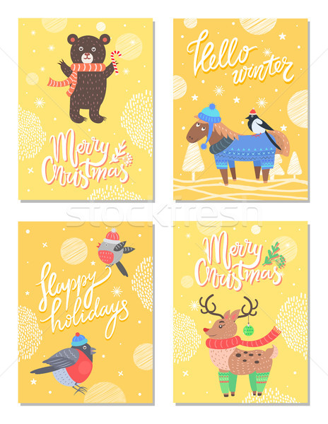 Hello Winter Merry Christmas 60s Theme Postcard Stock photo © robuart
