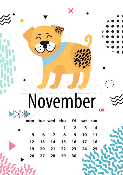 November Page of Calendar Vector Illustration Stock photo © robuart