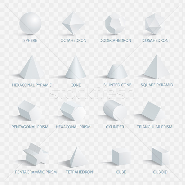Geometric 3D Shapes with Names Vector Illustration Stock photo © robuart