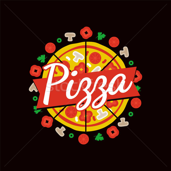 Delicious Pizza Cafe Bright Commercial Emblem Stock photo © robuart