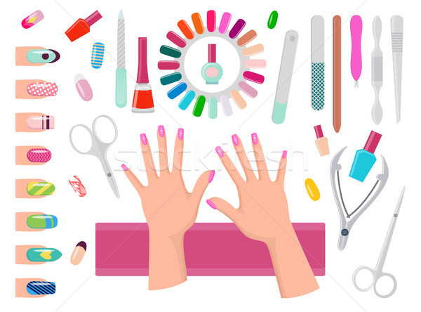 Female Hands with Pink Nails and Manicure Tools Stock photo © robuart