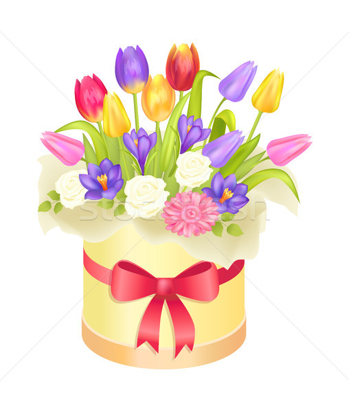 Bloemen ovaal decoratief vak luxe tulpen Stockfoto © robuart