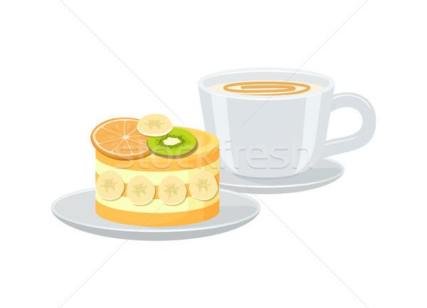 Luminoso banner Cup espresso gustoso torta Foto d'archivio © robuart