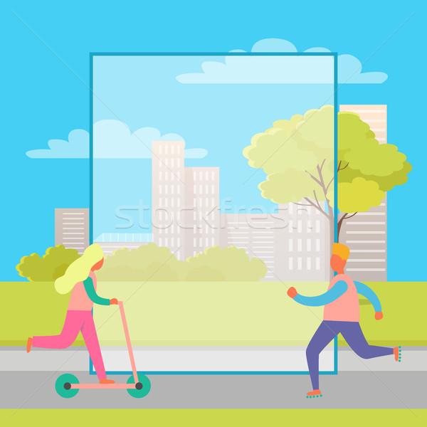男 少女 キック スクーター 公園 スケート ストックフォト © robuart