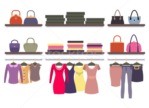 Womens Clothing Store Shop Window Clothes Hanging Stock photo © robuart