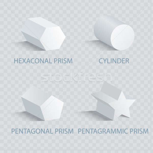 Hexagonal Prism and Cylinder Vector Illustration Stock photo © robuart