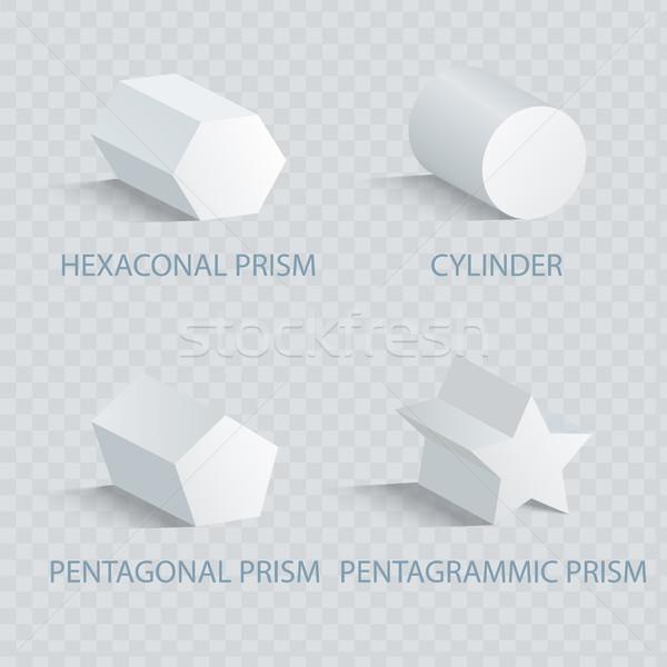 Prizma silindir ayarlamak geometrik anlamaya Stok fotoğraf © robuart
