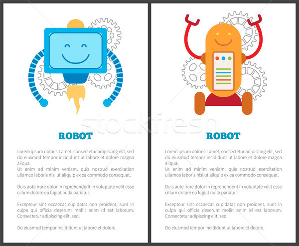Robots with Turbine and on Wheels Promo Posters Stock photo © robuart