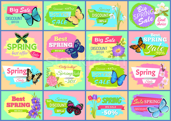 Spring Big Sale Posters Set Vector Illustration Stock photo © robuart