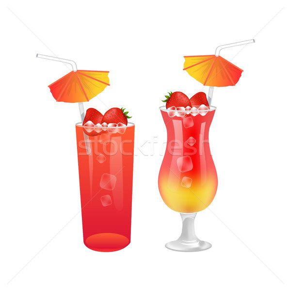 Delicious Sweet Summer Cocktails with Strawberries Stock photo © robuart