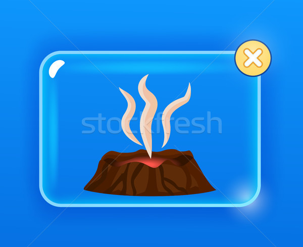 Stock photo: Dormant Brown Volcano, White Vapor Cartoon Drawing