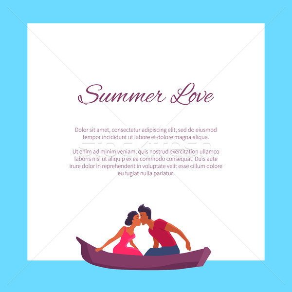 Summer Love Couple Swims on Canoe and Kisses Stock photo © robuart