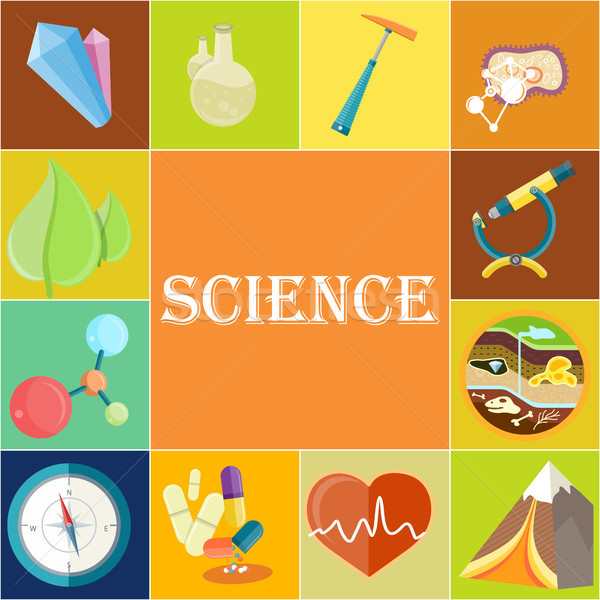 Science Poster with Illustrations in Square Cells Stock photo © robuart
