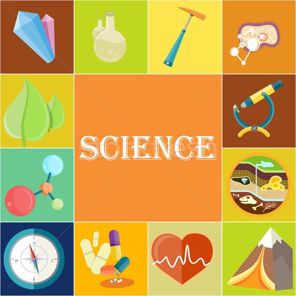 Wetenschap poster illustraties vierkante chemische geologie Stockfoto © robuart