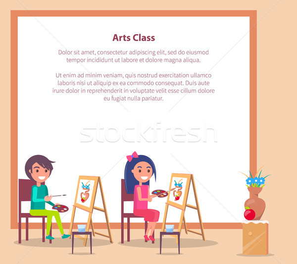 Art Class Banner with Place for Text and Students Stock photo © robuart