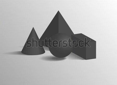 Black Geometric Figures Set on White Background Stock photo © robuart