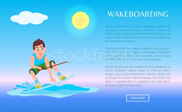 Wakeboarding Web Online Poster Kitesurfing Boy Stock photo © robuart