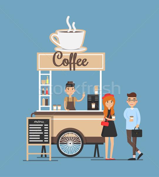 Café stand bordo vendedor clientes emociones Foto stock © robuart