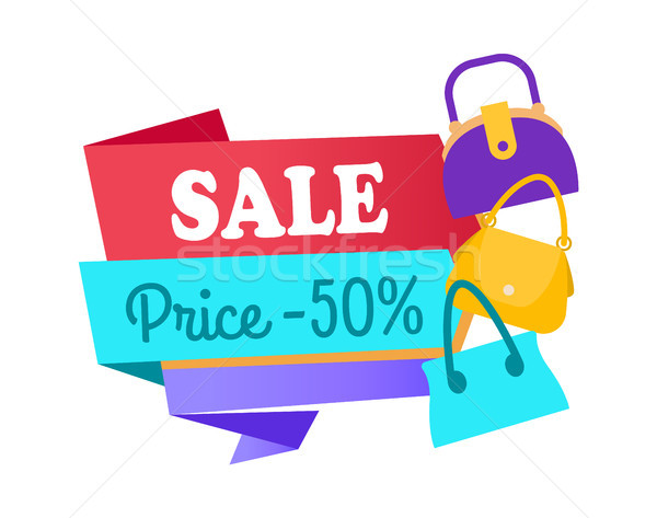 Sale Price 50 Half Special Offer Label Discount Stock photo © robuart