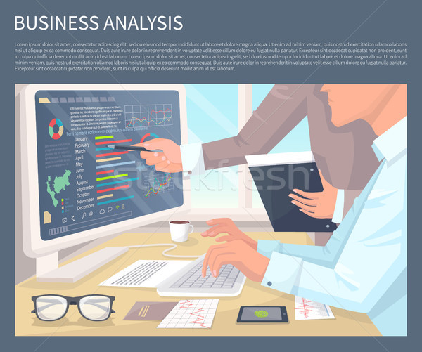 Business Analysis on Modern Computer with Graphics Stock photo © robuart