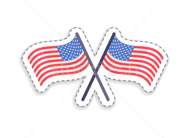 Two Crossed Flags of United States Patch Patriotic Stock photo © robuart