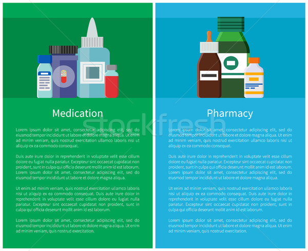 Medication Pharmacy Posters Medicament Containers Stock photo © robuart