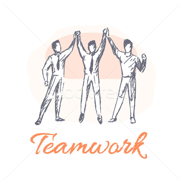 Teamwork Poster and Team, Vector Illustration Stock photo © robuart