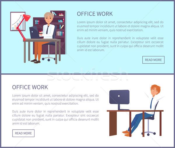 Ofis işleri poster metin örnek oturmak Stok fotoğraf © robuart