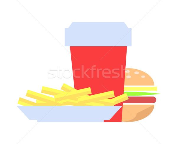 Burger frites françaises chignon jambon rouge Photo stock © robuart