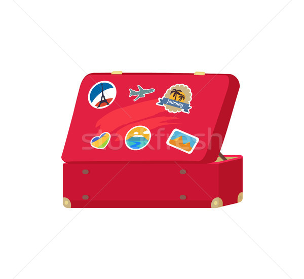 Back of Leather Vintage Suitcase with Decorations Stock photo © robuart