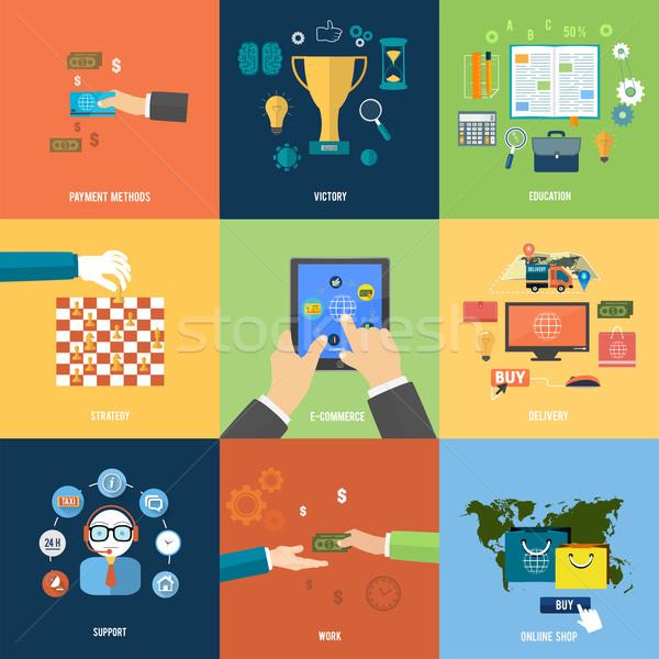 On-line compras ecommerce pagamento entrega ícones Foto stock © robuart