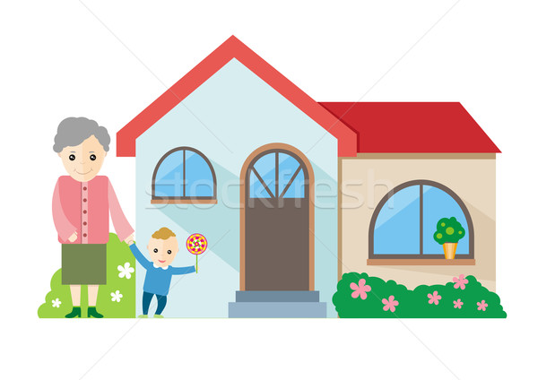 Grandmother playing with her grandchildren Stock photo © robuart