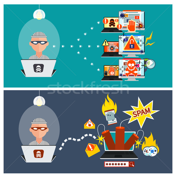 Hacker activity viruses hacking and e-mail spam Stock photo © robuart