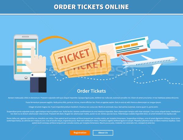 Stockfoto: Om · tickets · online · kopen · ticket · mobiele · telefoon