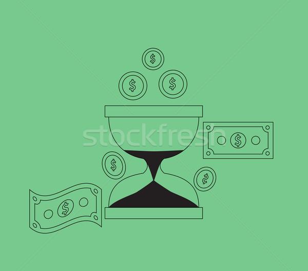 Время-деньги песочных часов монетами бизнеса валюта часы Сток-фото © robuart