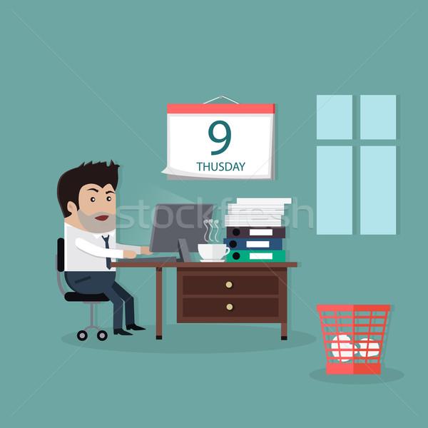 Prazo de entrega projeto interior homem calendário tempo Foto stock © robuart