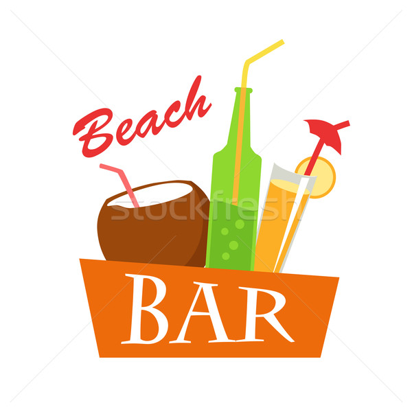 Beach Bar Concept Illustration. Summer Drinks. Stock photo © robuart