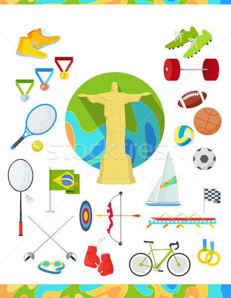 Icons Set Devoted to Summer Sport Games in Brazil Stock photo © robuart