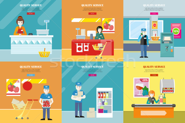 Set of Quality Service in Shop Vector Banners.  Stock photo © robuart