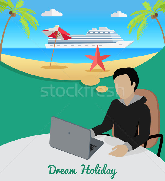 Man Sitting on Chair Dreaming About Good Rest. Stock photo © robuart