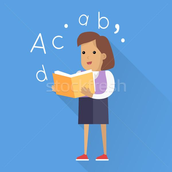 Schoolgirl with Book Isolated Character Stock photo © robuart