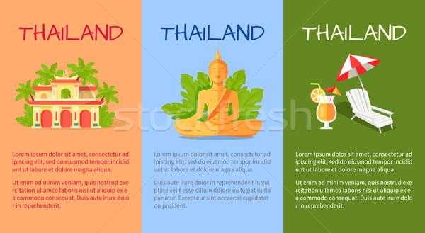 Tajlandia banner tradycyjny orientalny znaki budynku Zdjęcia stock © robuart