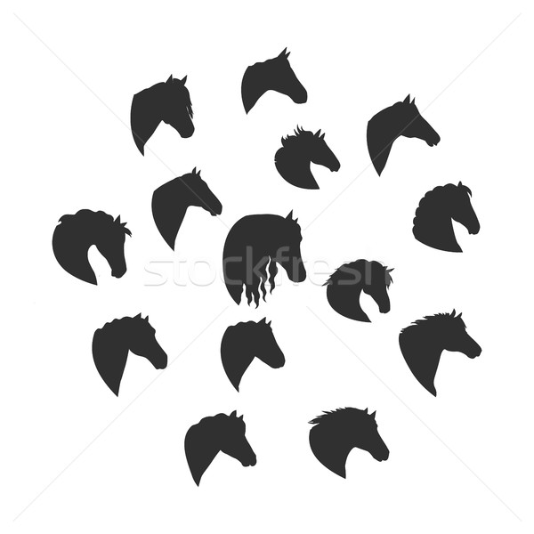 Set of Vector Silhouettes of Horse Heads  Stock photo © robuart