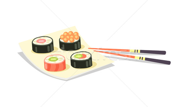 Sushi Set and Chopsticks near on White Background Stock photo © robuart