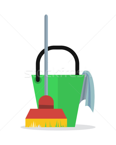 Cleaning Web Banner. Bucket with Duster and Broom Stock photo © robuart