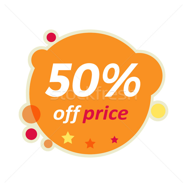 Stock photo: Sale Round Banner. 50 Percent Off Price Discount