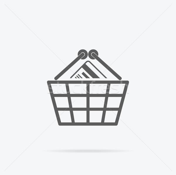 Stock photo: Simple Shopping Basket Icon Illustration.