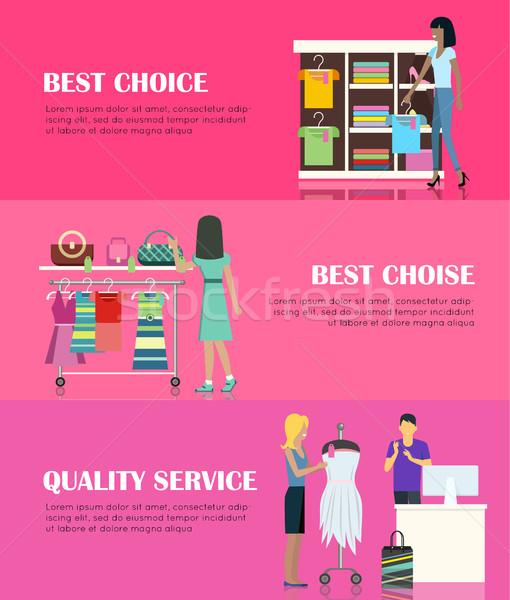 Legjobb választás minőség szolgáltatás nők gyártmány ruházat Stock fotó © robuart